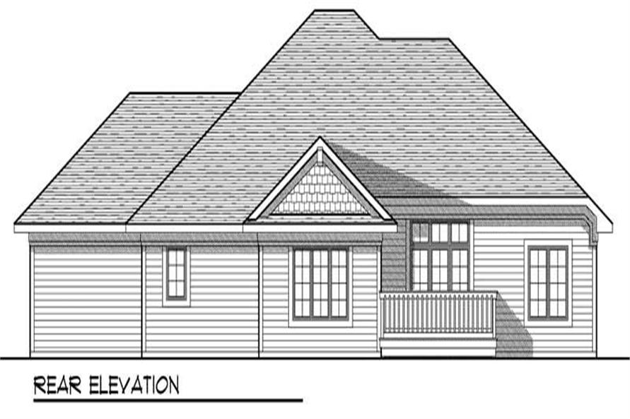 Home Plan Rear Elevation of this 3-Bedroom,1694 Sq Ft Plan -101-1060
