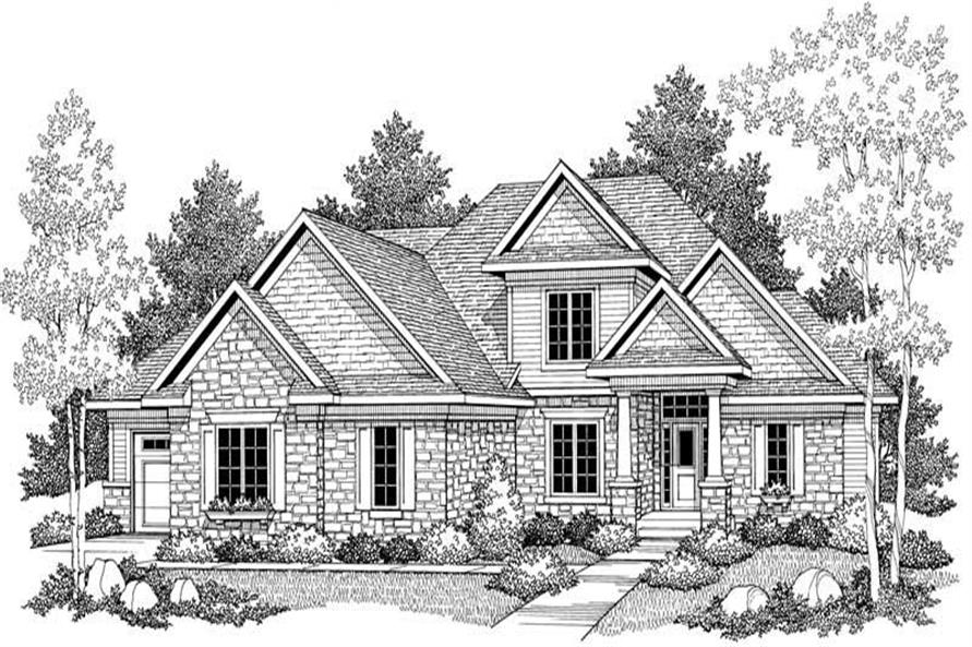 Home Plan Front Elevation of this 4-Bedroom,2838 Sq Ft Plan -101-1062