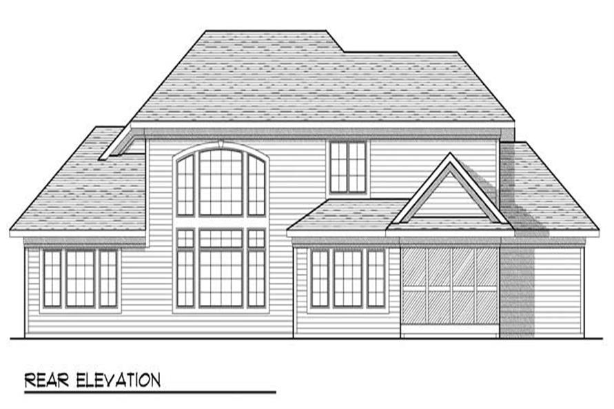 Home Plan Rear Elevation of this 4-Bedroom,2838 Sq Ft Plan -101-1062