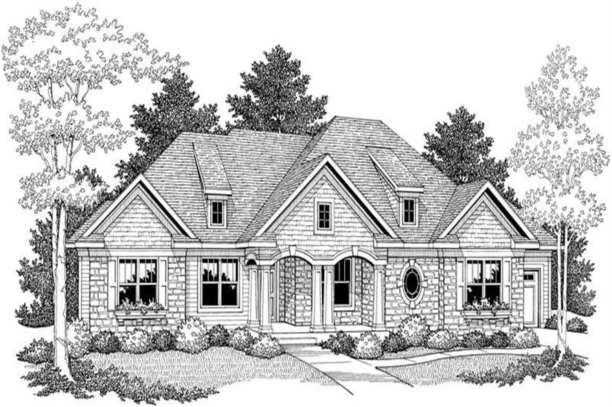 Home Plan Front Elevation of this 3-Bedroom,2117 Sq Ft Plan -101-1063