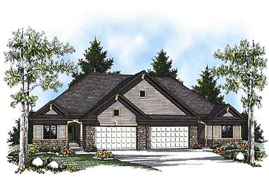 2-Bedroom, 2776 Sq Ft Multi-Unit House Plan - 101-1065 - Front Exterior