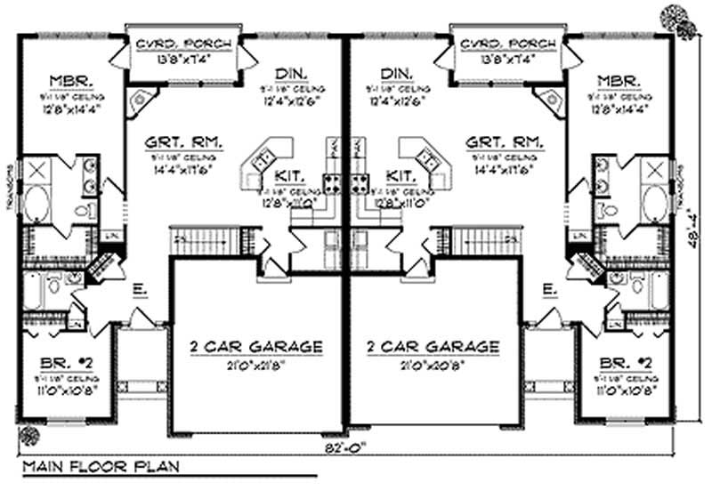 Multi unit ranch multi unit home with 2 bedrooms 2776 for Multi unit floor plans