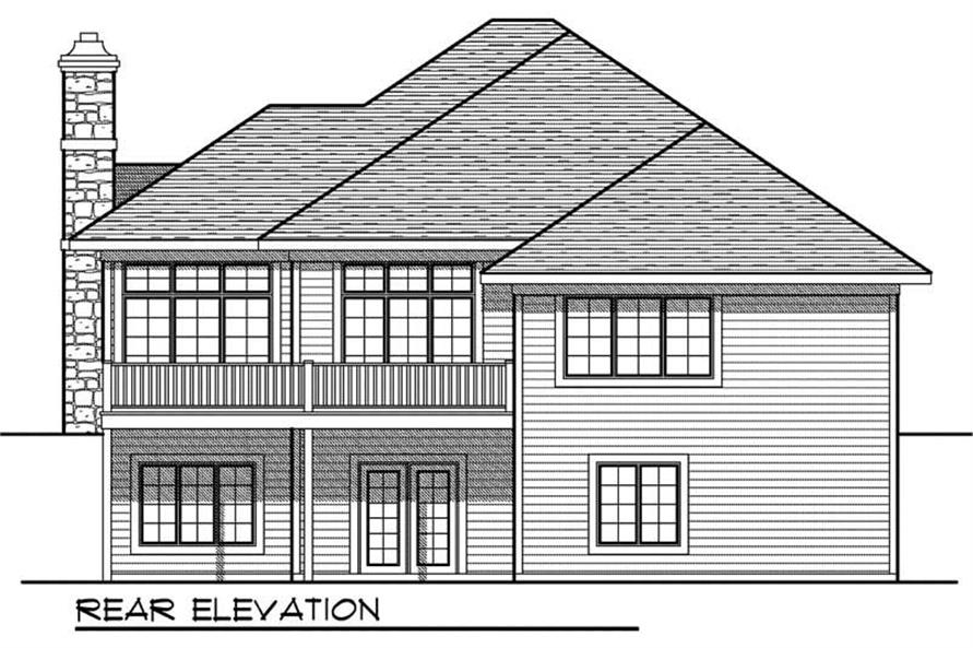 Home Plan Rear Elevation of this 3-Bedroom,2643 Sq Ft Plan -101-1066