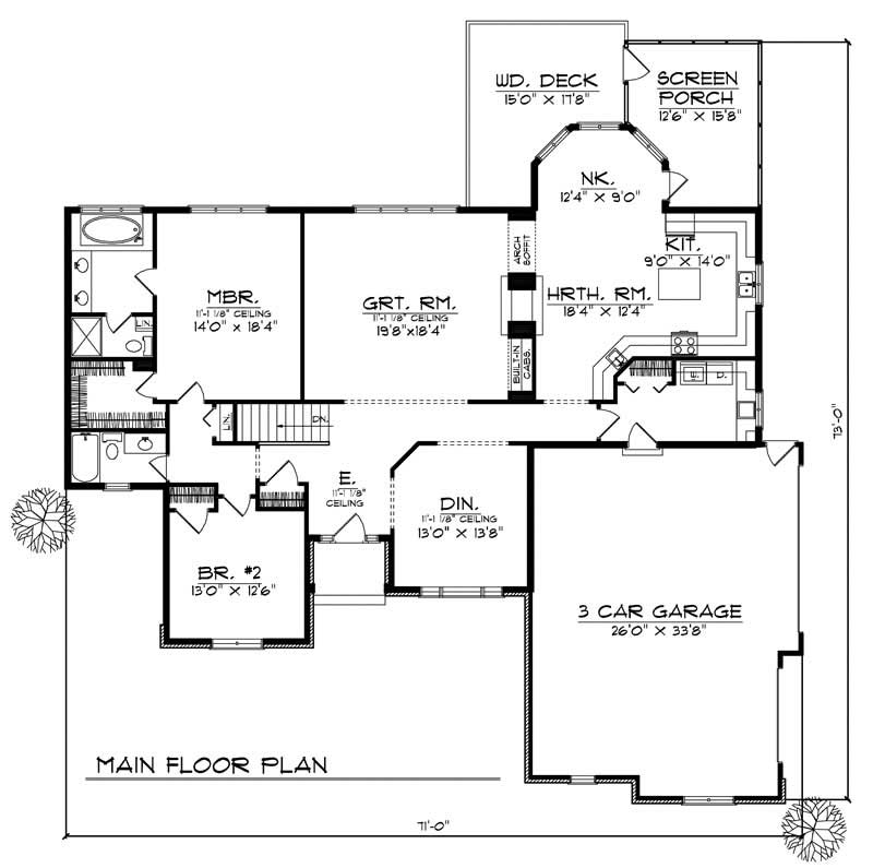 Ranch traditional home with 2 bedrooms 2200 sq ft for 2200 sq ft house plans