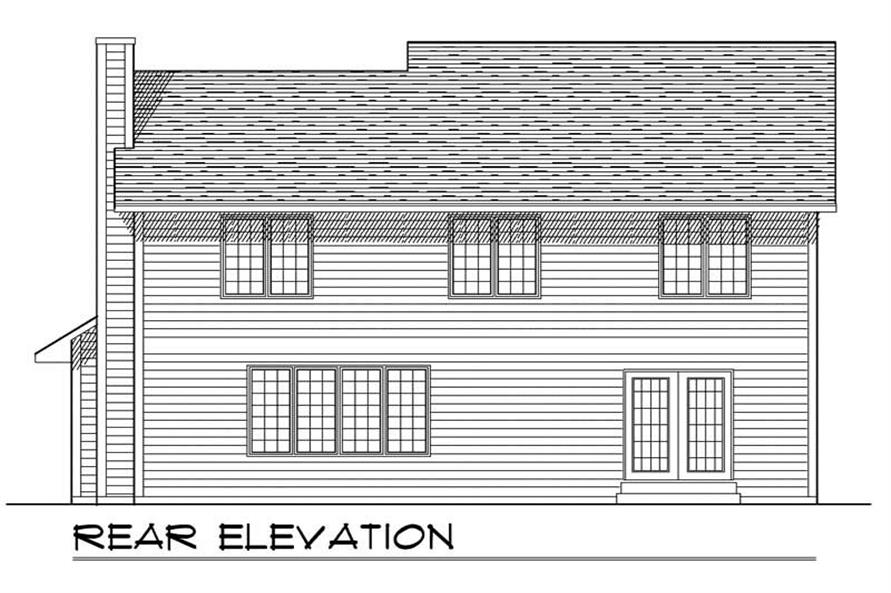 Home Plan Rear Elevation of this 3-Bedroom,2106 Sq Ft Plan -101-1081