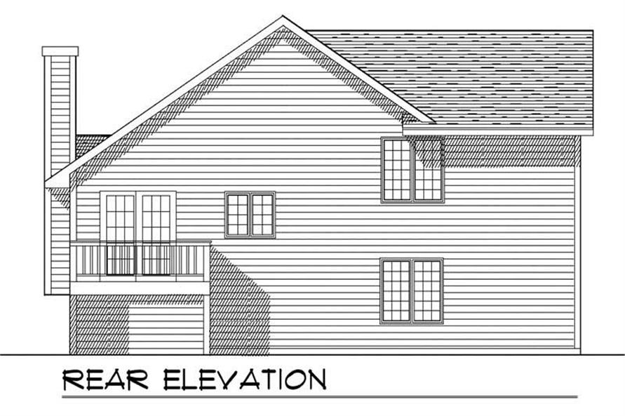 Home Plan Rear Elevation of this 3-Bedroom,1599 Sq Ft Plan -101-1084