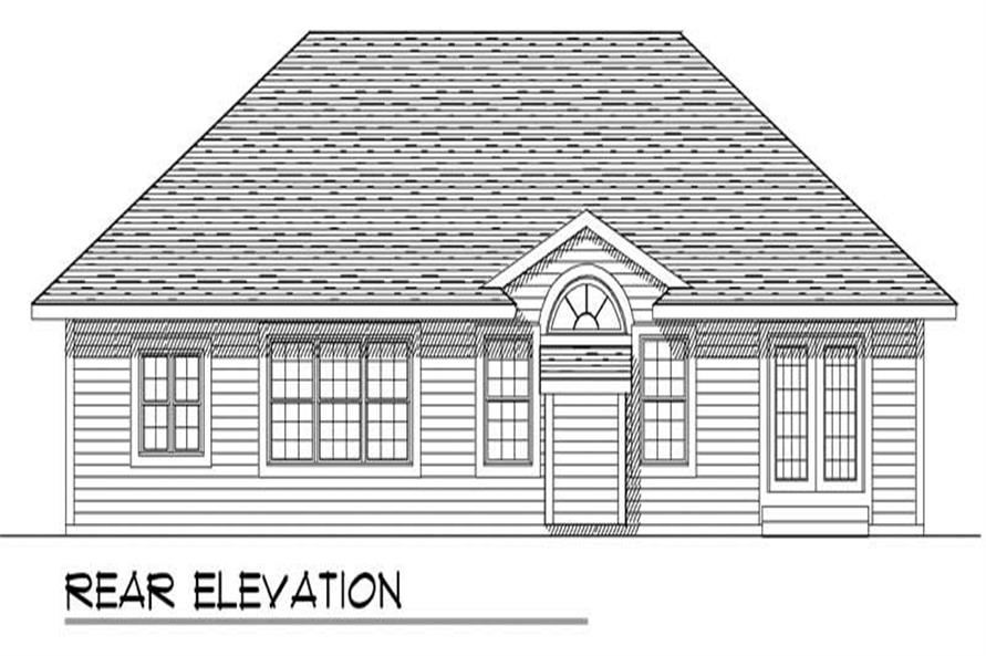 Home Plan Rear Elevation of this 3-Bedroom,1557 Sq Ft Plan -101-1090