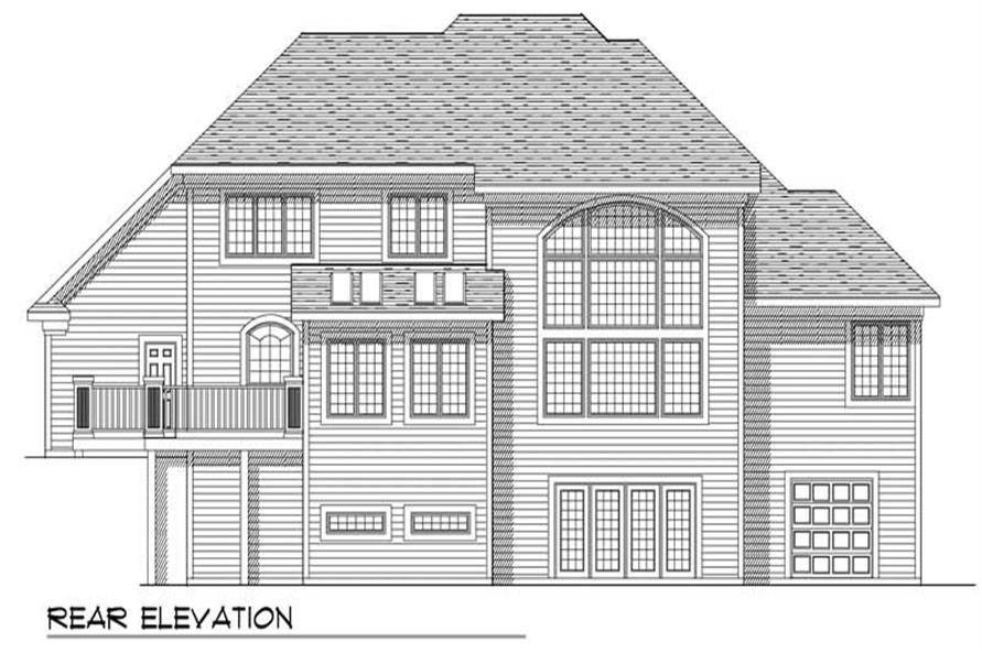 Home Plan Rear Elevation of this 4-Bedroom,2832 Sq Ft Plan -101-1092