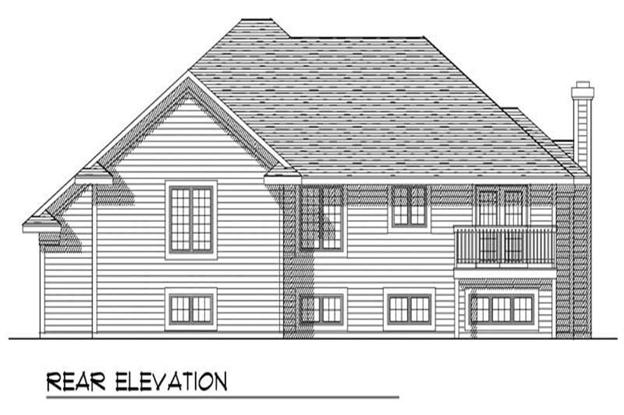 Home Plan Rear Elevation of this 3-Bedroom,1724 Sq Ft Plan -101-1093