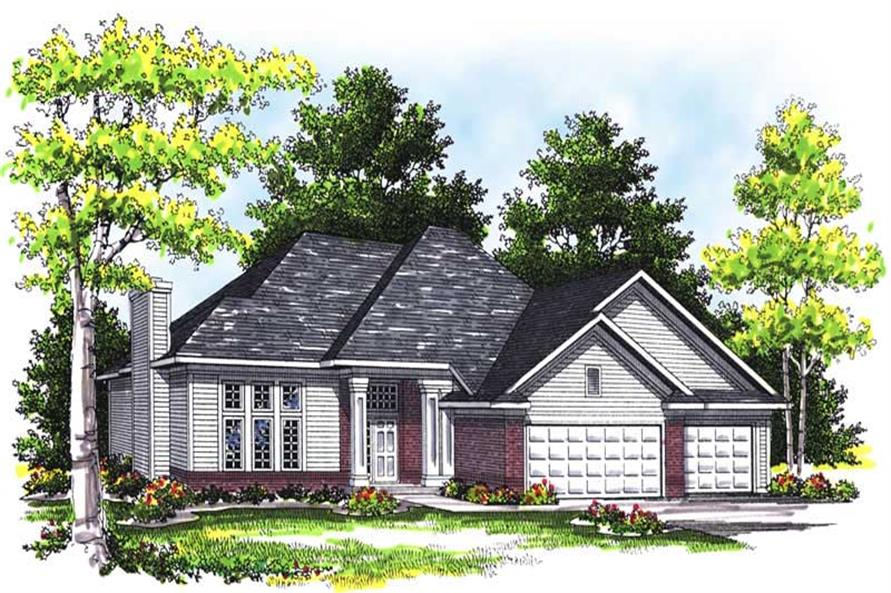 3-Bedroom, 1724 Sq Ft Ranch House Plan - 101-1093 - Front Exterior