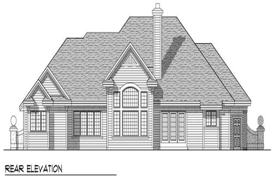 Home Plan Rear Elevation of this 3-Bedroom,3034 Sq Ft Plan -101-1094