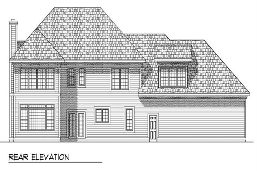 Home Plan Rear Elevation of this 4-Bedroom,2917 Sq Ft Plan -101-1097