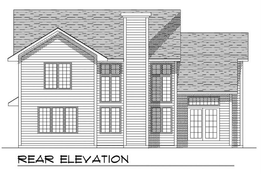 Home Plan Rear Elevation of this 3-Bedroom,1800 Sq Ft Plan -101-1102