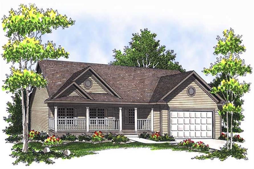 3-Bedroom, 1233 Sq Ft Ranch Home Plan - 101-1104 - Main Exterior