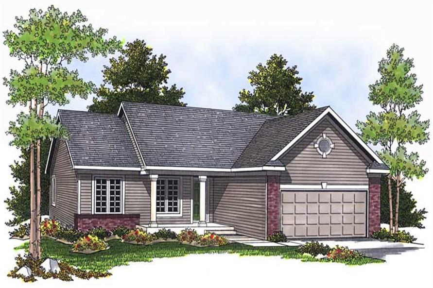 3-Bedroom, 1295 Sq Ft Ranch House Plan - 101-1105 - Front Exterior