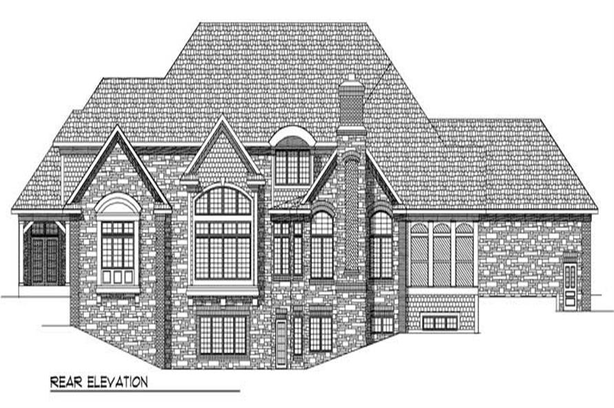 Home Plan Rear Elevation of this 4-Bedroom,6571 Sq Ft Plan -101-1110