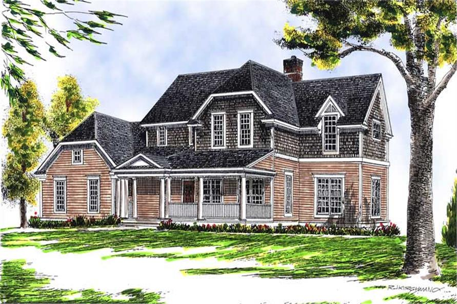 4-Bedroom, 2301 Sq Ft Colonial Home Plan - 101-1115 - Main Exterior