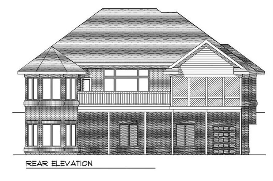 Home Plan Rear Elevation of this 4-Bedroom,3193 Sq Ft Plan -101-1118