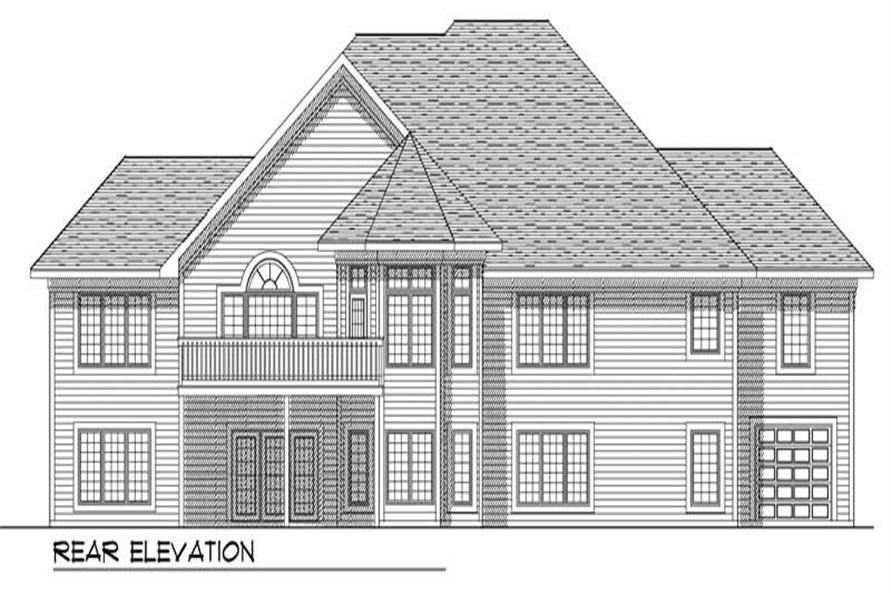 Home Plan Rear Elevation of this 3-Bedroom,2383 Sq Ft Plan -101-1123
