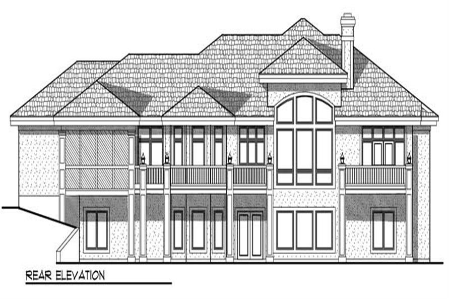 Home Plan Rear Elevation of this 5-Bedroom,5282 Sq Ft Plan -101-1127
