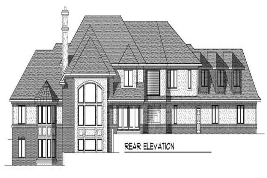 Home Plan Rear Elevation of this 4-Bedroom,5574 Sq Ft Plan -101-1128