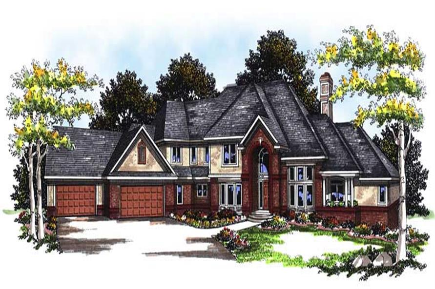 4-Bedroom, 5574 Sq Ft European Home Plan - 101-1128 - Main Exterior