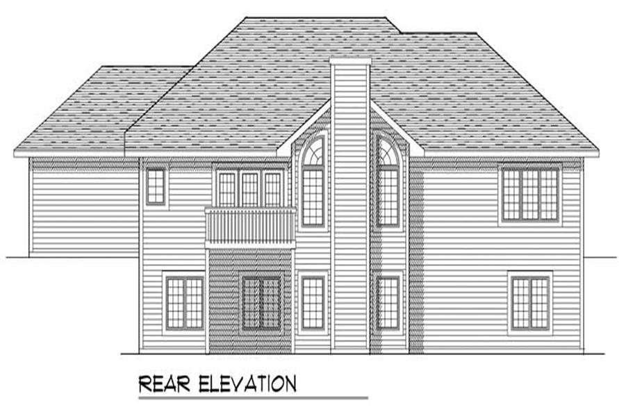 Home Plan Rear Elevation of this 4-Bedroom,2629 Sq Ft Plan -101-1129