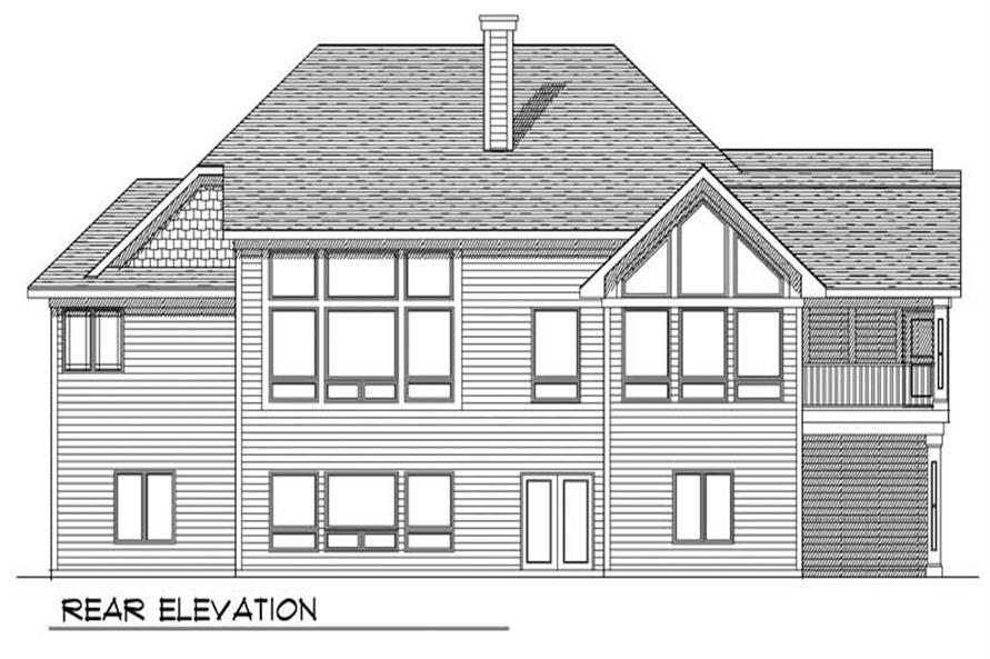 Home Plan Rear Elevation of this 3-Bedroom,3715 Sq Ft Plan -101-1135