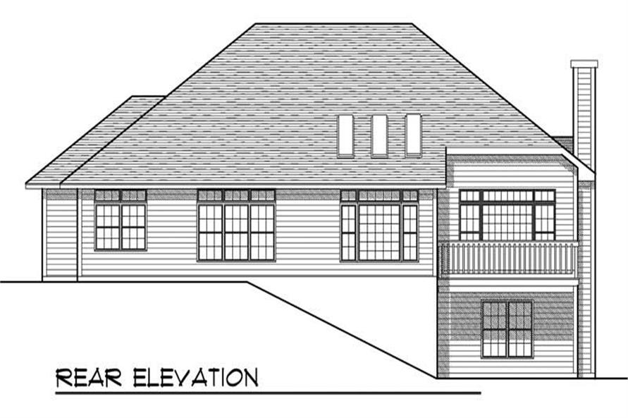 Home Plan Rear Elevation of this 2-Bedroom,2238 Sq Ft Plan -101-1138