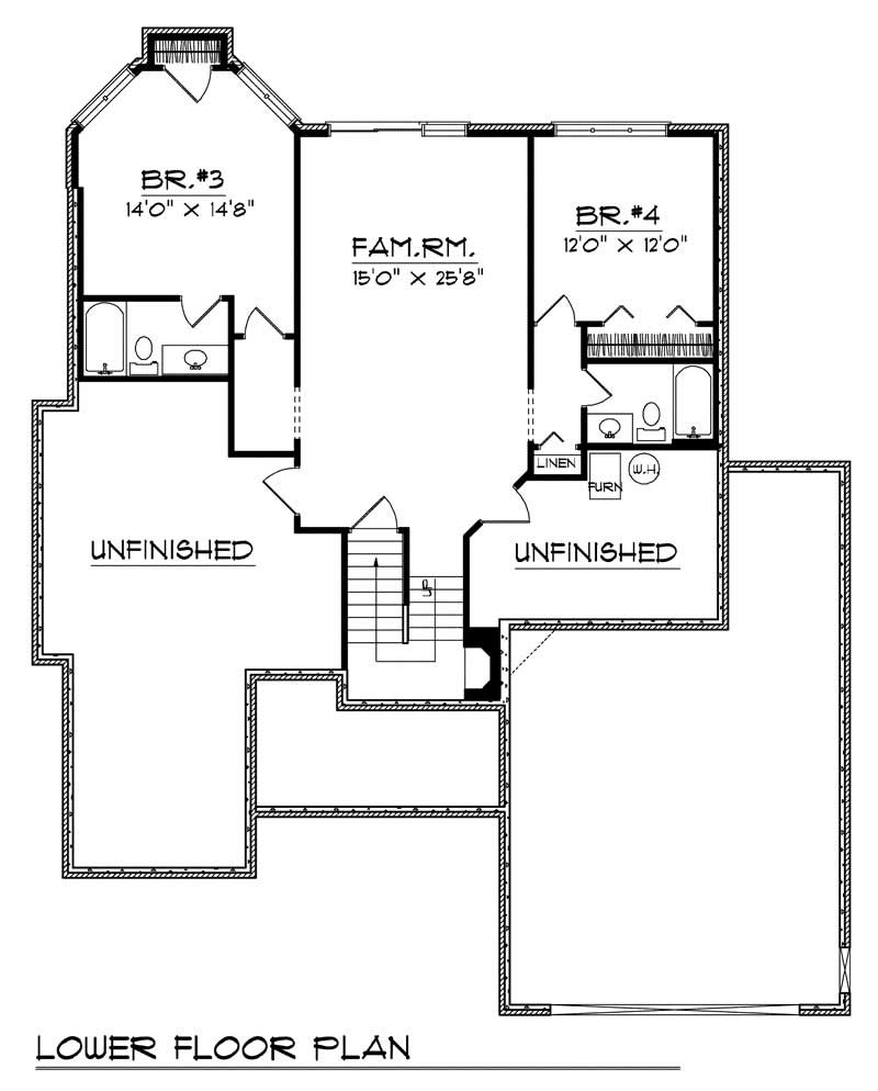 Ranch home with 4 bdrms 2783 sq ft house plan 101 1141 Cost of building a basement per square foot