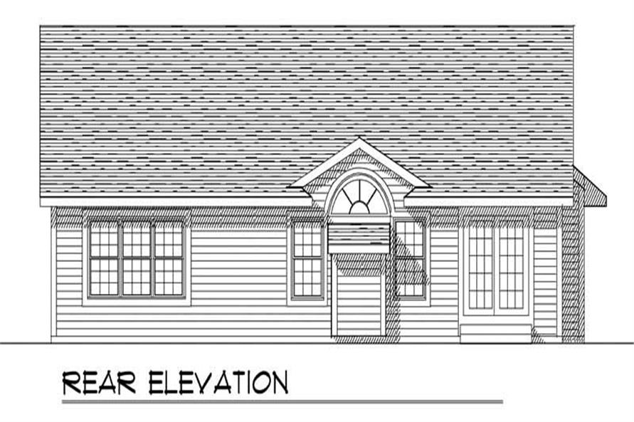 Home Plan Rear Elevation of this 3-Bedroom,1370 Sq Ft Plan -101-1149