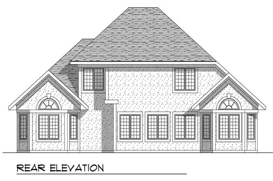 Home Plan Rear Elevation of this 4-Bedroom,2712 Sq Ft Plan -101-1152