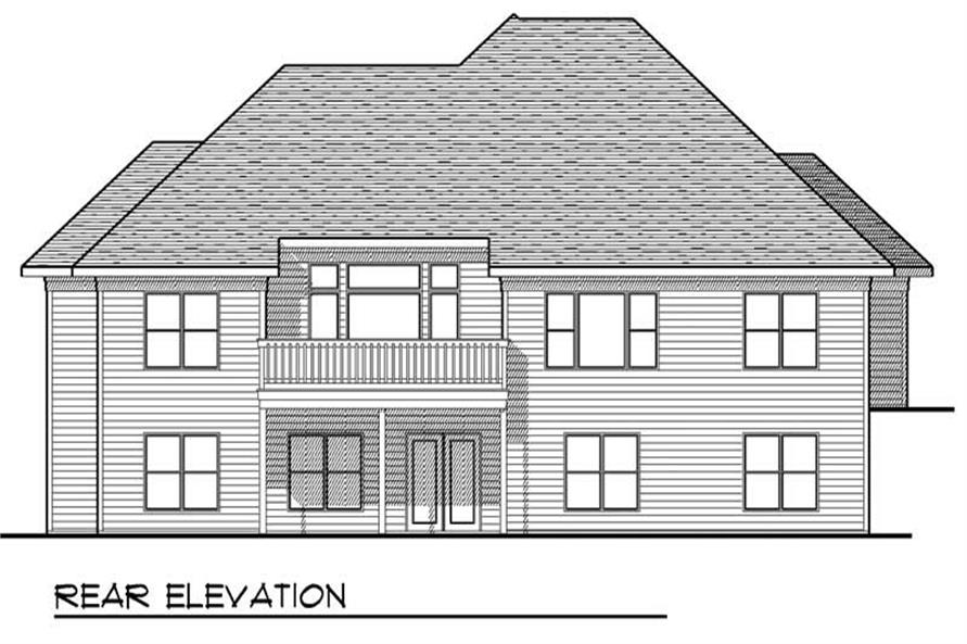 Home Plan Rear Elevation of this 2-Bedroom,1961 Sq Ft Plan -101-1178