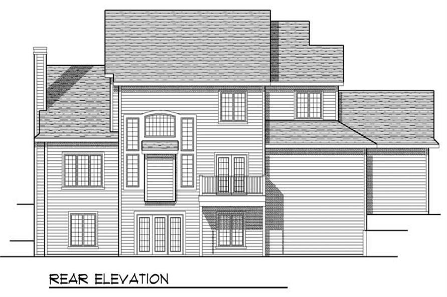 Home Plan Rear Elevation of this 4-Bedroom,2469 Sq Ft Plan -101-1181