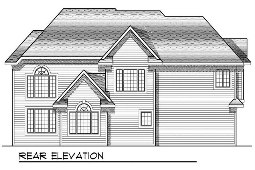 Home Plan Rear Elevation of this 4-Bedroom,3033 Sq Ft Plan -101-1186