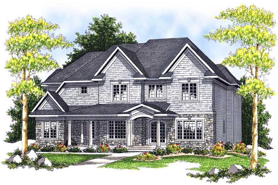 4-Bedroom, 3033 Sq Ft Colonial Home Plan - 101-1186 - Main Exterior