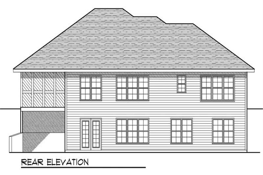 Home Plan Rear Elevation of this 5-Bedroom,2690 Sq Ft Plan -101-1190