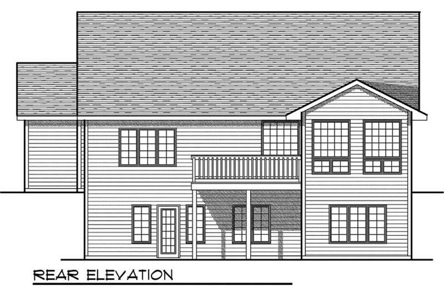 Home Plan Rear Elevation of this 4-Bedroom,2787 Sq Ft Plan -101-1192