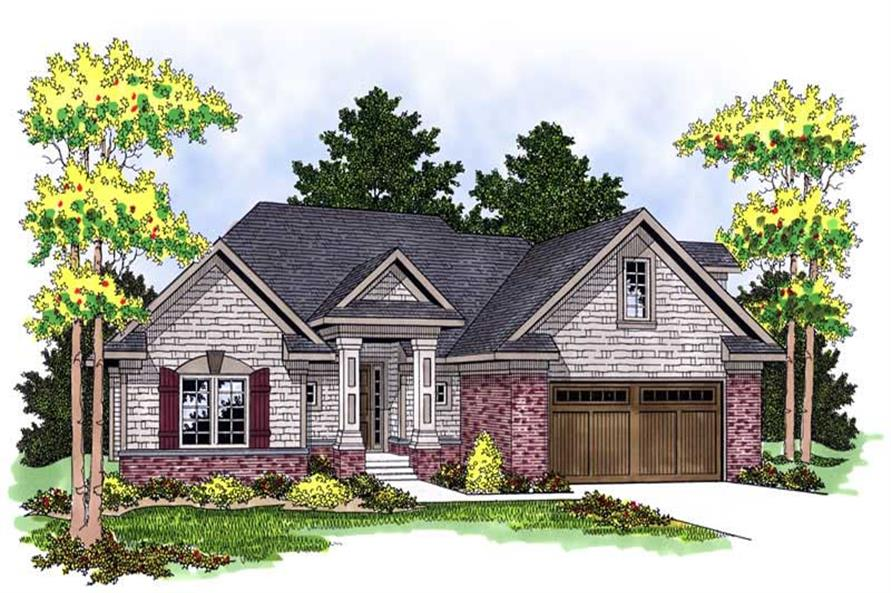 Front elevation of Transitional home (ThePlanCollection: House Plan #101-1195)