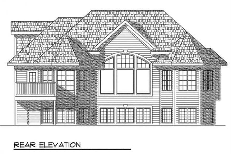 Home Plan Rear Elevation of this 2-Bedroom,1878 Sq Ft Plan -101-1195