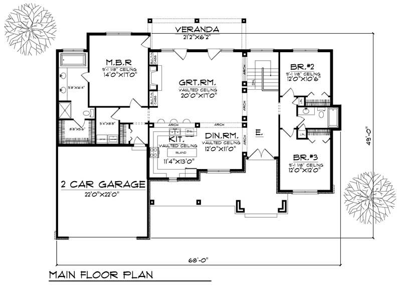 Country Ranch Home With 3 Bdrms 1920 Sq Ft House Plan