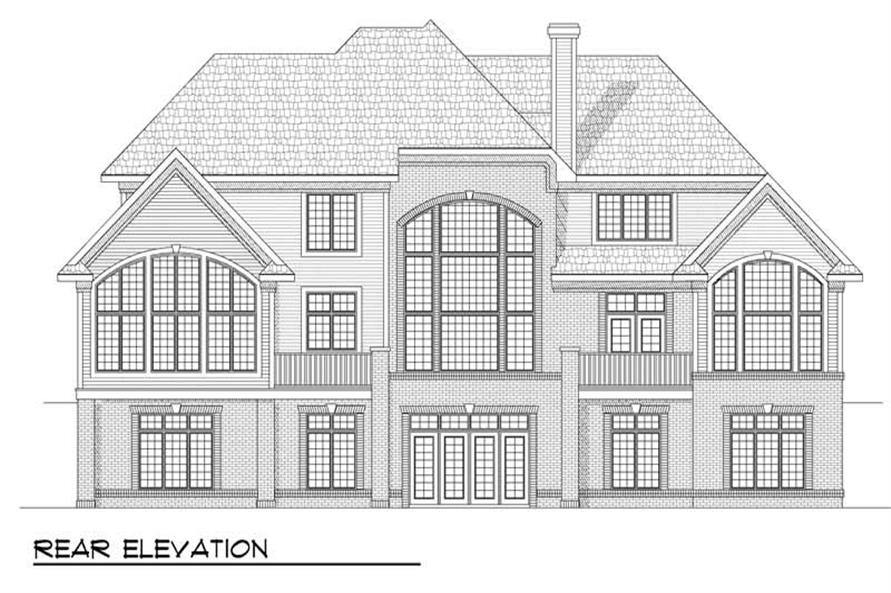 Home Plan Rear Elevation of this 4-Bedroom,3800 Sq Ft Plan -101-1201