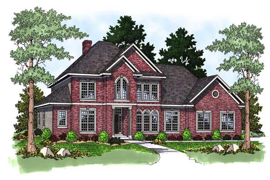 4-Bedroom, 3325 Sq Ft European Home Plan - 101-1207 - Main Exterior