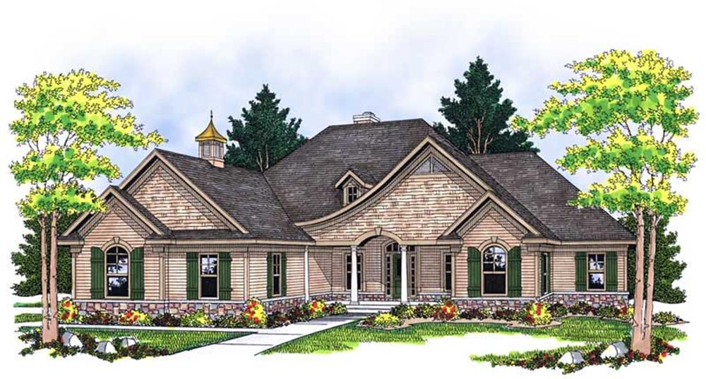 Front elevation of Ranch home (ThePlanCollection: House Plan #101-1222)