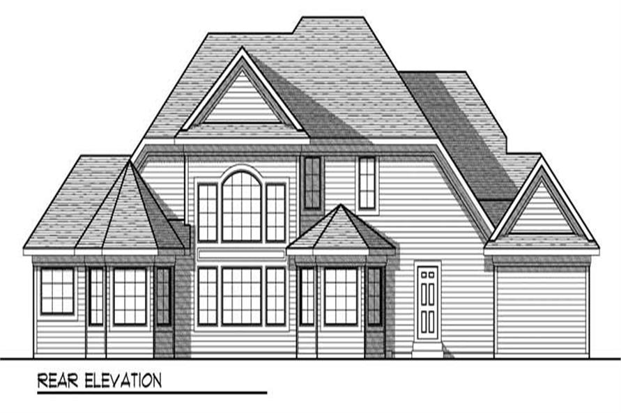 Home Plan Rear Elevation of this 4-Bedroom,2874 Sq Ft Plan -101-1224