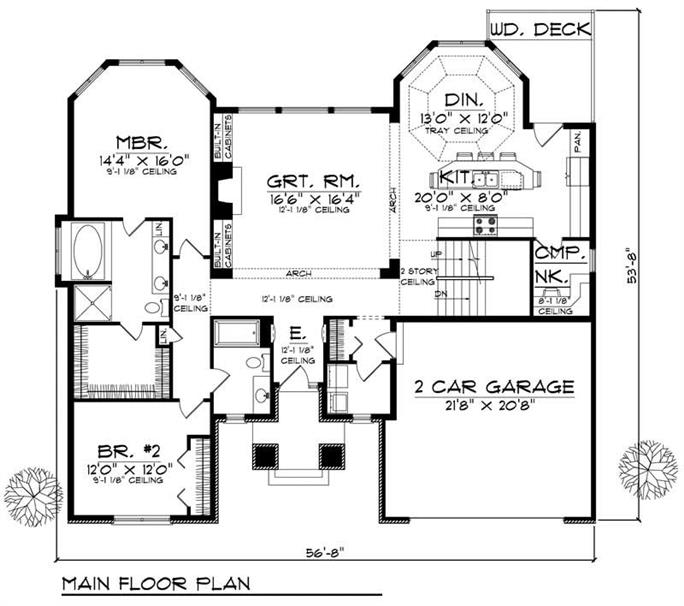 Floor Plan First Story Of Ranch Plan