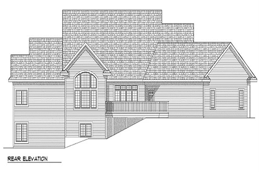 Home Plan Rear Elevation of this 4-Bedroom,5640 Sq Ft Plan -101-1230