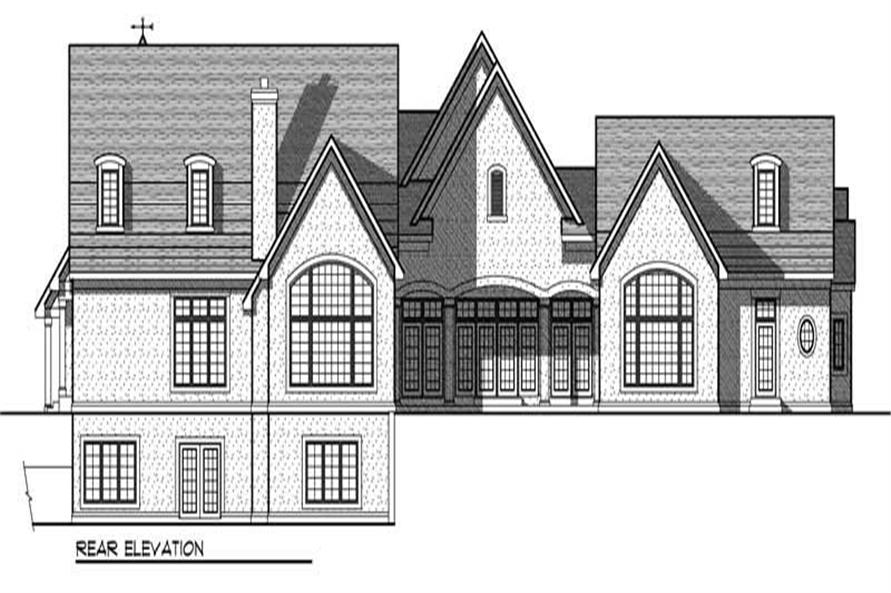 Home Plan Rear Elevation of this 4-Bedroom,6223 Sq Ft Plan -101-1236