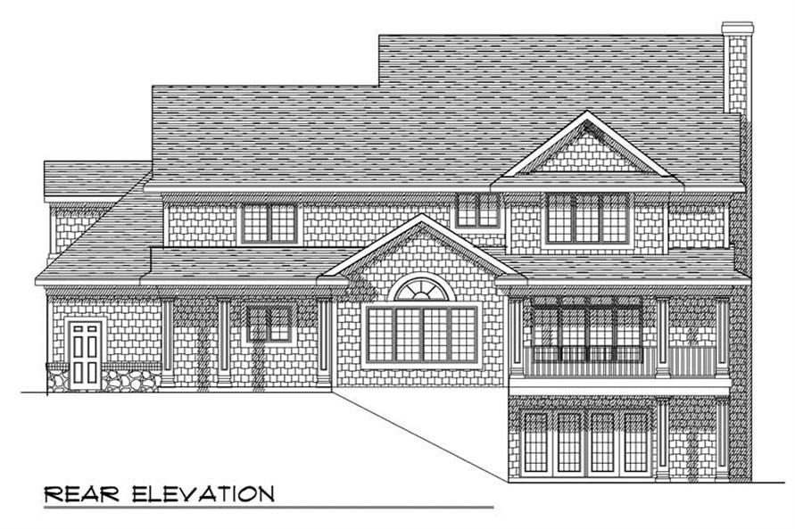 Home Plan Rear Elevation of this 3-Bedroom,2800 Sq Ft Plan -101-1237