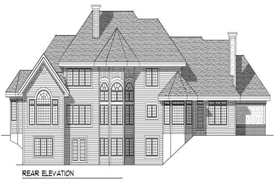 Home Plan Rear Elevation of this 4-Bedroom,4255 Sq Ft Plan -101-1249